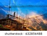 construction worker on... | Shutterstock . vector #632856488