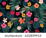 Seamless Hand Drawn Tropical...