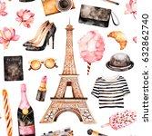 watercolor fashion illustration.... | Shutterstock . vector #632862740