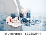 double exposure of coins and...   Shutterstock . vector #632862944