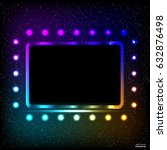 colorful neon frame on a dark... | Shutterstock .eps vector #632876498