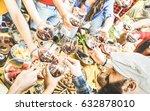 top view of friend hands...   Shutterstock . vector #632878010