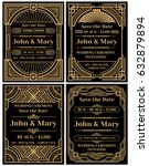 Modern wedding invitation vector mockup in classic art deco retro style | Shutterstock vector #632879894