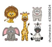 set of different cute wild... | Shutterstock .eps vector #632880824