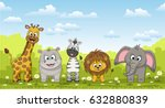 illustration of different cute... | Shutterstock .eps vector #632880839