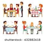 people in restaurant eating... | Shutterstock .eps vector #632882618