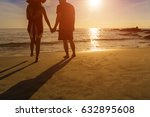 silhouette couple on the beach... | Shutterstock . vector #632895608