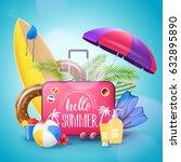 summer tropical island beach... | Shutterstock .eps vector #632895890