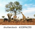 Stock photo conceptual image of different wild animals meeting as a team 632896250