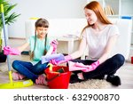 family cleaning house | Shutterstock . vector #632900870