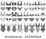 collection of lingerie. panty... | Shutterstock .eps vector #632905064