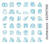 set of wedding icons. vector... | Shutterstock .eps vector #632907500