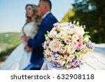 wedding bouquet on wooden table ... | Shutterstock . vector #632908118