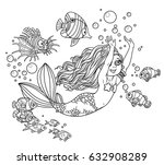 the beautiful girl the mermaid... | Shutterstock .eps vector #632908289