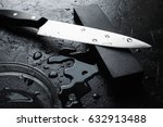 knife sharpening with whetstone ... | Shutterstock . vector #632913488