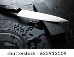 knife sharpening with whetstone ... | Shutterstock . vector #632913509