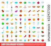 100 culinary icons set in... | Shutterstock .eps vector #632927330