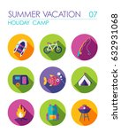 summer camping vector flat icon ... | Shutterstock .eps vector #632931068