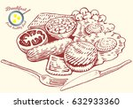 hand drawn breakfast... | Shutterstock .eps vector #632933360