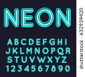 neon light glowing alphabet.... | Shutterstock .eps vector #632939420