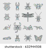 set of insects patches.... | Shutterstock .eps vector #632944508