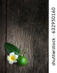 lime put on wooden table | Shutterstock . vector #632950160
