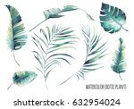 watercolor tropical leaves set. ... | Shutterstock . vector #632954024