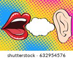 woman lips whispering in mans... | Shutterstock .eps vector #632954576