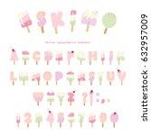 ice cream eskimo font. popsicle ... | Shutterstock .eps vector #632957009