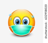 cute emoticon wearing medical... | Shutterstock .eps vector #632958020