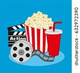 cinema items. vector... | Shutterstock .eps vector #632972390