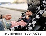 cute baby in a hat sitting in a ... | Shutterstock . vector #632973368