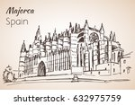 palma cathedral le seu. sketch. ... | Shutterstock .eps vector #632975759