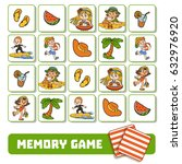 memory game for children  cards ... | Shutterstock .eps vector #632976920