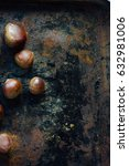 fresh organic chestnuts on... | Shutterstock . vector #632981006