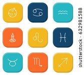 set of 9 galaxy outline icons... | Shutterstock .eps vector #632981588