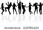 dancing people silhouettes. | Shutterstock .eps vector #632981624
