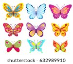 set of colorful cartoon... | Shutterstock .eps vector #632989910
