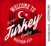 turkey emblem or sign with... | Shutterstock .eps vector #632996180