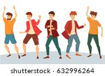 set of dancing man with raised... | Shutterstock .eps vector #632996264
