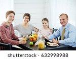 family portrait in morning... | Shutterstock . vector #632998988