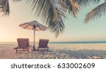 Beautiful beach.  Summer holiday and vacation concept. Inspirational tropical beach. Tranquil scenery, relaxing beach, tropical landscape design. Moody landscape