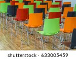 colored chairs in hall. | Shutterstock . vector #633005459