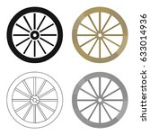 Cart Wheel Icon Cartoon. Singe...