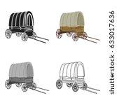 cowboy wagon icon cartoon.... | Shutterstock .eps vector #633017636