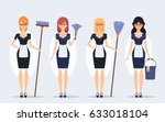 flat characters. cleaning... | Shutterstock .eps vector #633018104