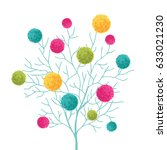 vector tree with colorful pom... | Shutterstock .eps vector #633021230