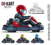 go kart racing side view... | Shutterstock .eps vector #633023150