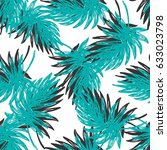 hand drawn palm leaves seamless ... | Shutterstock .eps vector #633023798