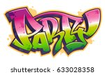 party word in readable graffiti ... | Shutterstock .eps vector #633028358